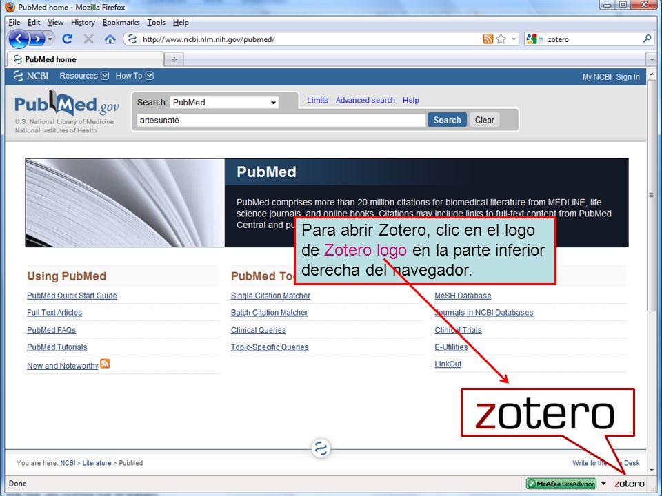 Para abrir Zotero, clic en el logo de Zotero logo en la parte inferior derecha del navegador.