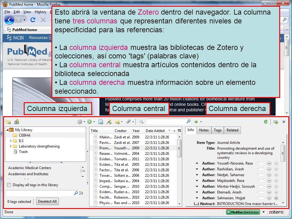 Esto abrirá la ventana de Zotero dentro del navegador. La columna tiene tres columnas que representan diferentes niveles de especificidad para las ref