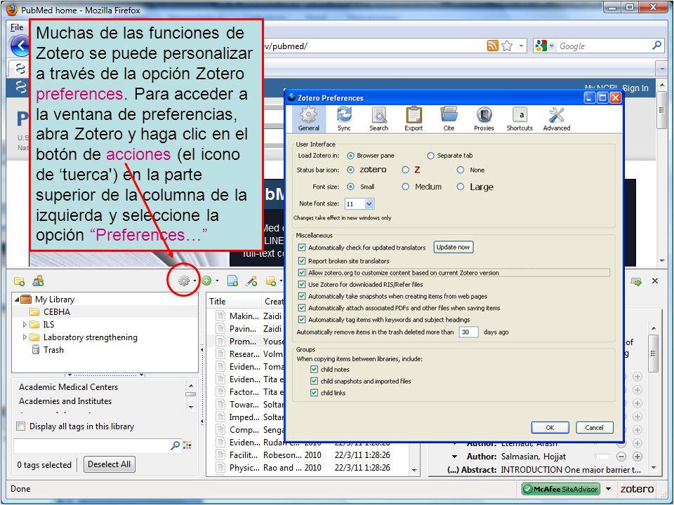 Muchas de las funciones de Zotero se puede personalizar a través de la opción Zotero preferences. Para acceder a la ventana de preferencias, abra Zote