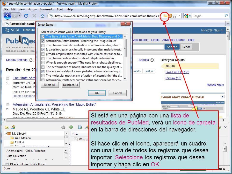 Si está en una página con una lista de resultados de PubMed, verá un icono de carpeta en la barra de direcciones del navegador. Si hace clic en el ico