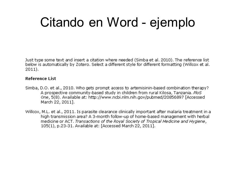 Citando en Word - ejemplo