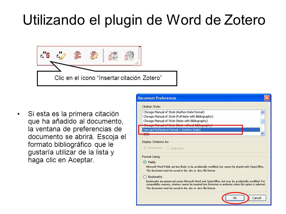 Utilizando el plugin de Word de Zotero Click on the Zotero Insert Citation icon Si esta es la primera citación que ha añadido al documento, la ventana