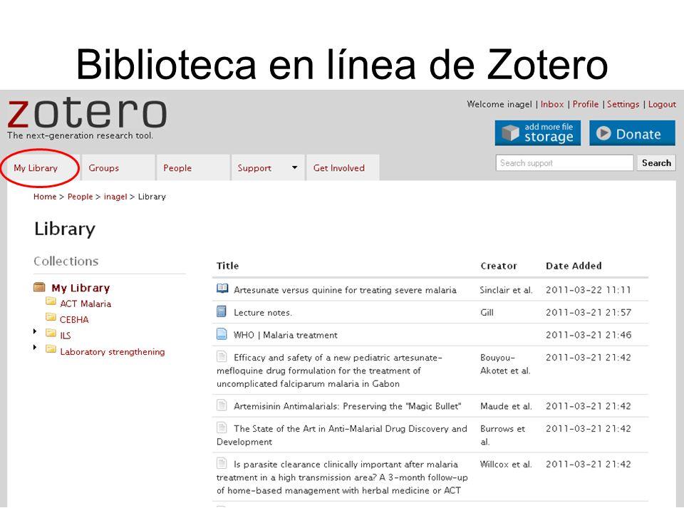 Biblioteca en línea de Zotero