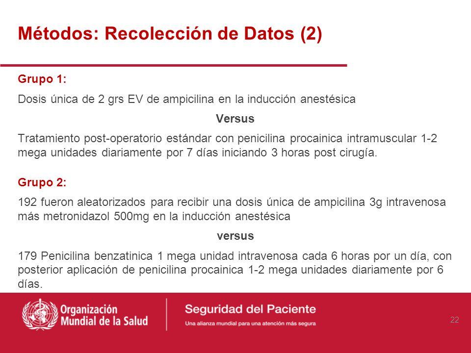 Métodos: Recolección de Datos Post obtención del consentimiento informado, los pacientes fueron divididos en dos grupos según condición quirúrgica: Gr