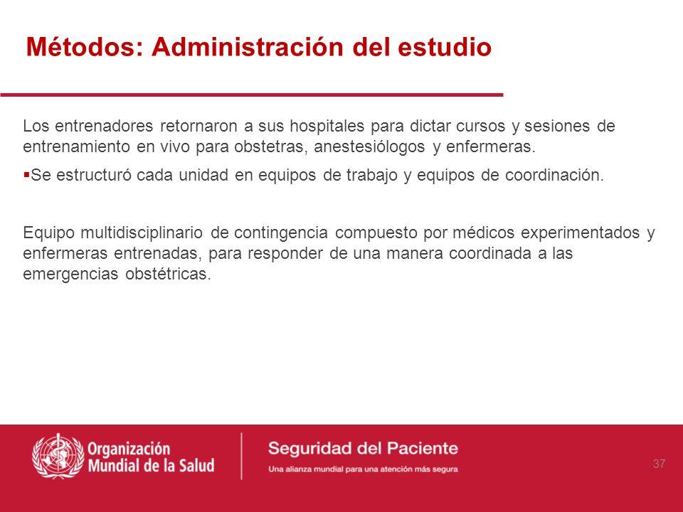 Métodos: Administración del estudio El personal clínico de los siete hospitales de intervención asistió a sesiones de entrenamiento. Recibieron un cur