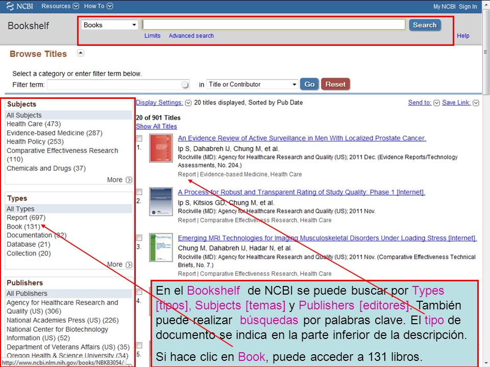 En el Bookshelf de NCBI se puede buscar por Types [tipos], Subjects [temas] y Publishers [editores].