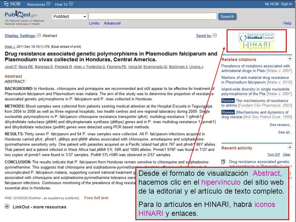 Desde el formato de visualización Abstract, hacemos clic en el hipervínculo del sitio web de la editorial y el artículo de texto completo.
