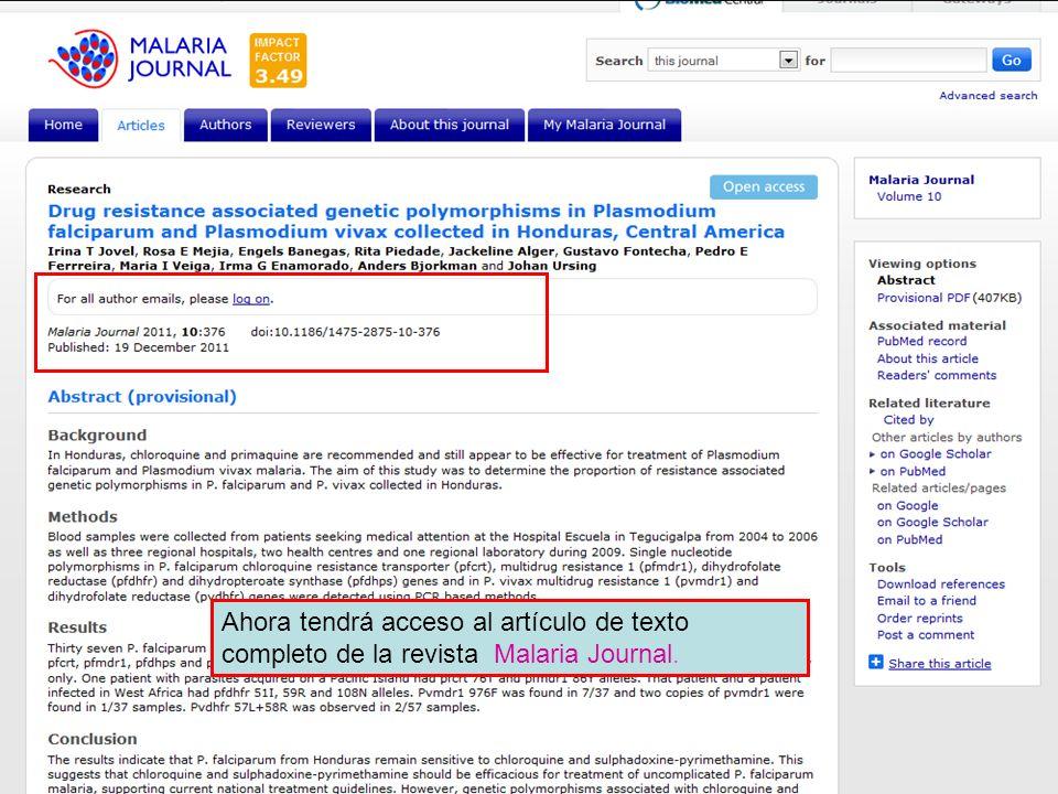 Ahora tendrá acceso al artículo de texto completo de la revista Malaria Journal.