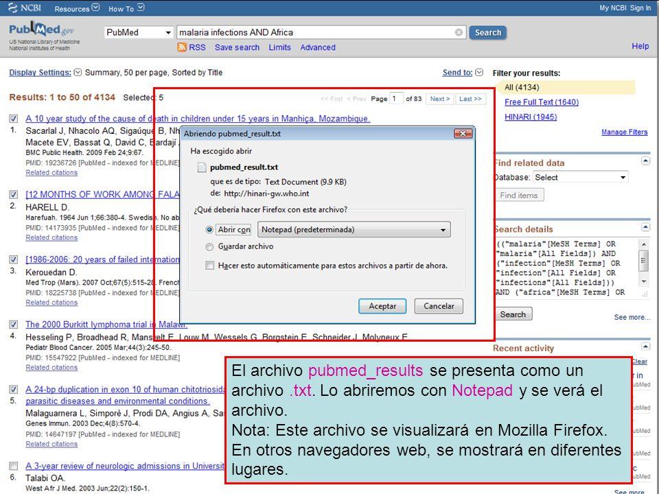 El archivo pubmed_results se presenta como un archivo.txt.