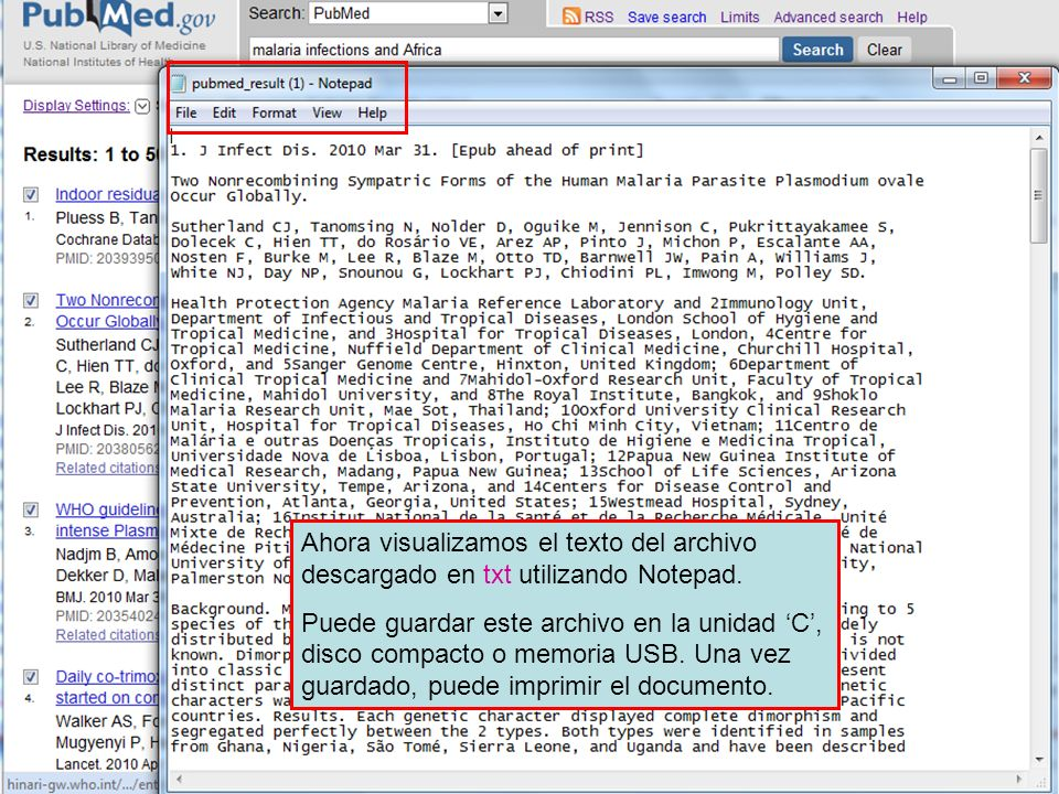 Ahora visualizamos el texto del archivo descargado en txt utilizando Notepad.