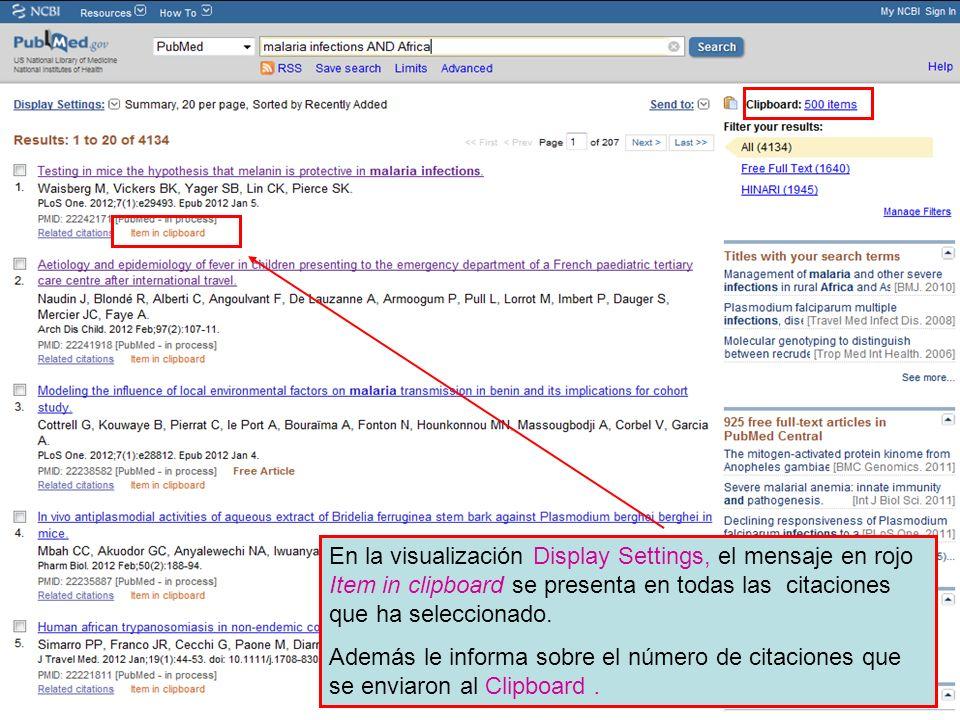 ` En la visualización Display Settings, el mensaje en rojo Item in clipboard se presenta en todas las citaciones que ha seleccionado.