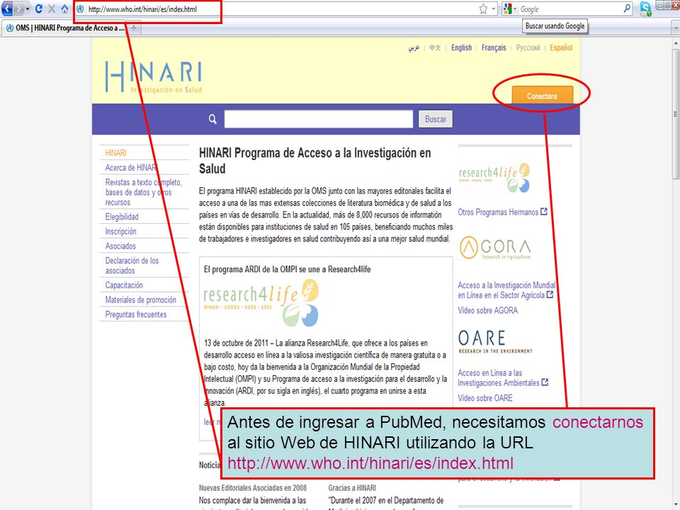 Logging on to HINARI 1 Antes de ingresar a PubMed, necesitamos conectarnos al sitio Web de HINARI utilizando la URL http://www.who.int/hinari/es/index.html