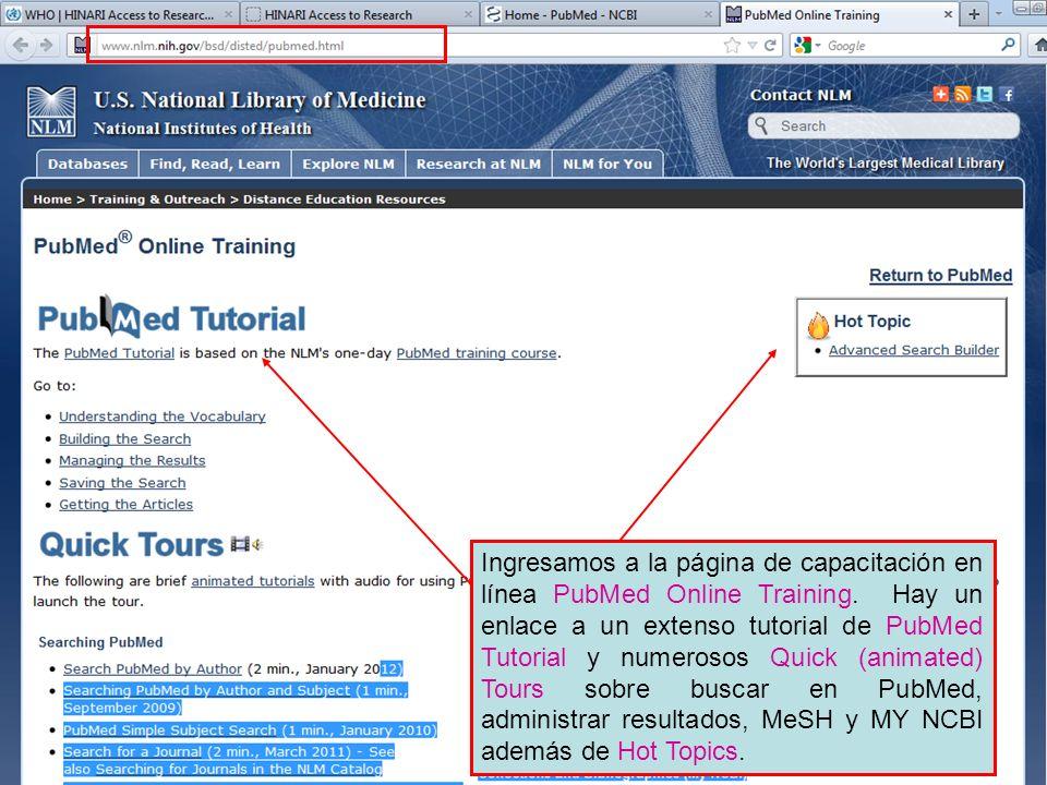 Ingresamos a la página de capacitación en línea PubMed Online Training.