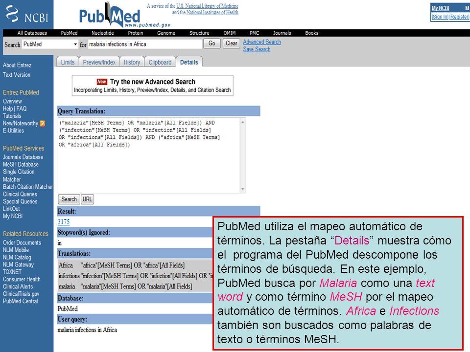 Details page PubMed utiliza el mapeo automático de términos.