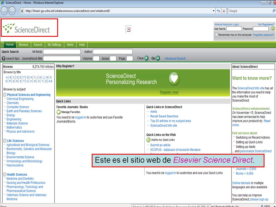 Searching – Science Direct Via Quick Search, puede localizar artículos por Title, abstract, keywords, Author o Journal/book title.