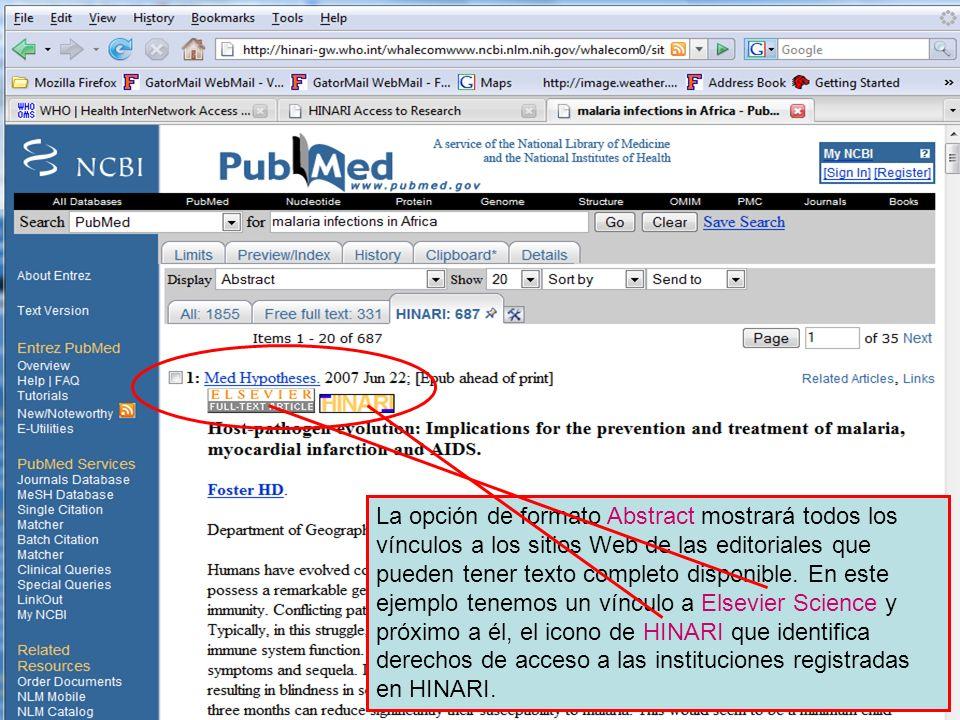 Abstract format – full text links La opción de formato Abstract mostrará todos los vínculos a los sitios Web de las editoriales que pueden tener texto completo disponible.