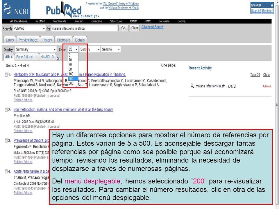 Number of records displayed Hay un diferentes opciones para mostrar el número de referencias por página.