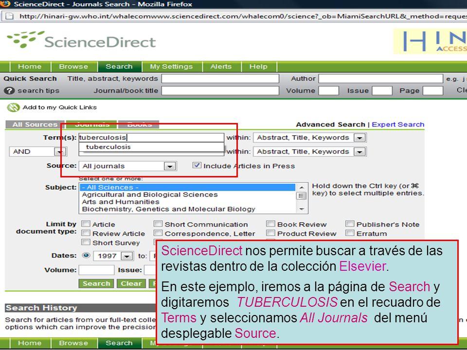 Results - default display Los resultados de la búsqueda se muestran en el cuerpo principal de la página.
