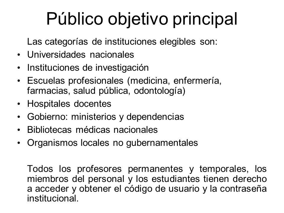 Público objetivo principal Las categorías de instituciones elegibles son: Universidades nacionales Instituciones de investigación Escuelas profesional