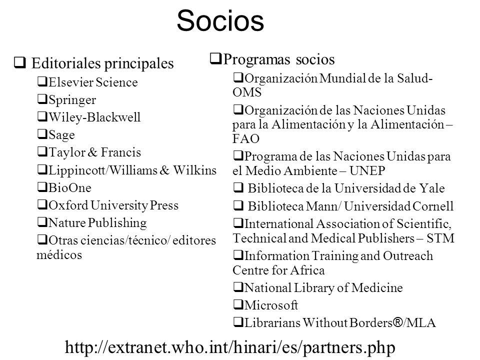 Socios Editoriales principales Elsevier Science Springer Wiley-Blackwell Sage Taylor & Francis Lippincott/Williams & Wilkins BioOne Oxford University