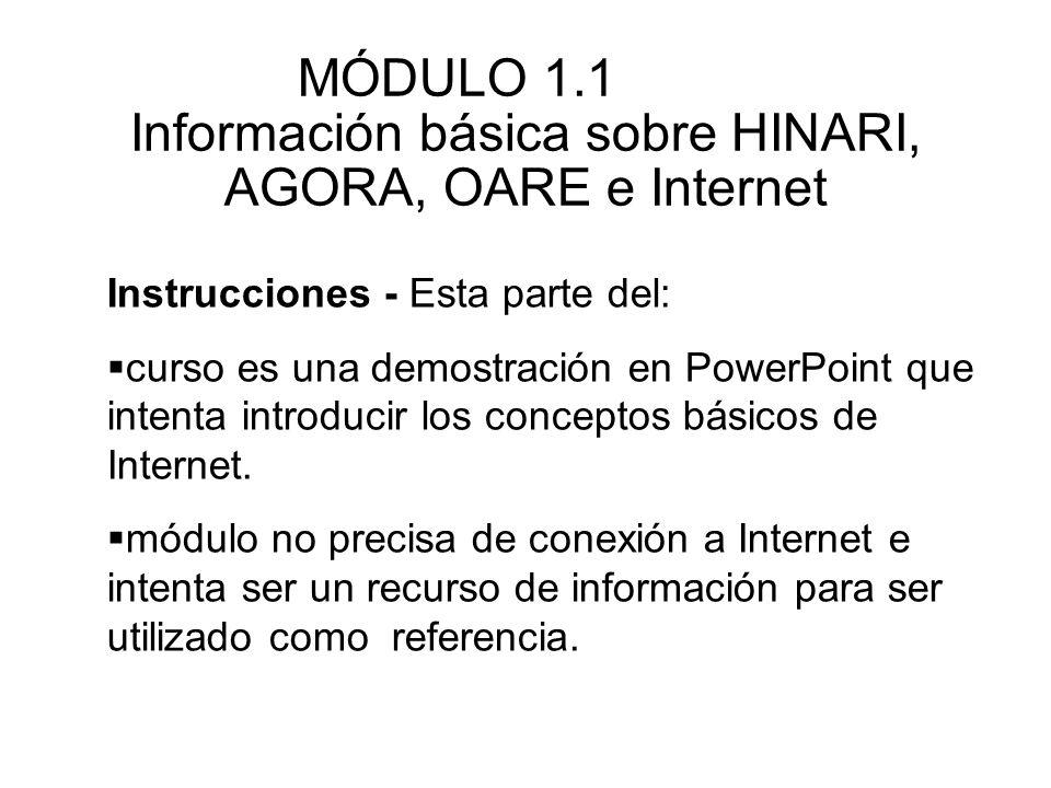 Instrucciones - Esta parte del: curso es una demostración en PowerPoint que intenta introducir los conceptos básicos de Internet. módulo no precisa de