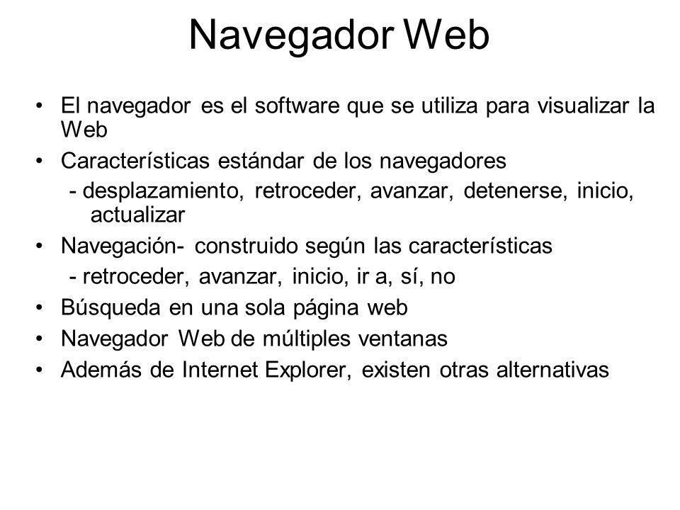 Navegador Web El navegador es el software que se utiliza para visualizar la Web Características estándar de los navegadores - desplazamiento, retroced