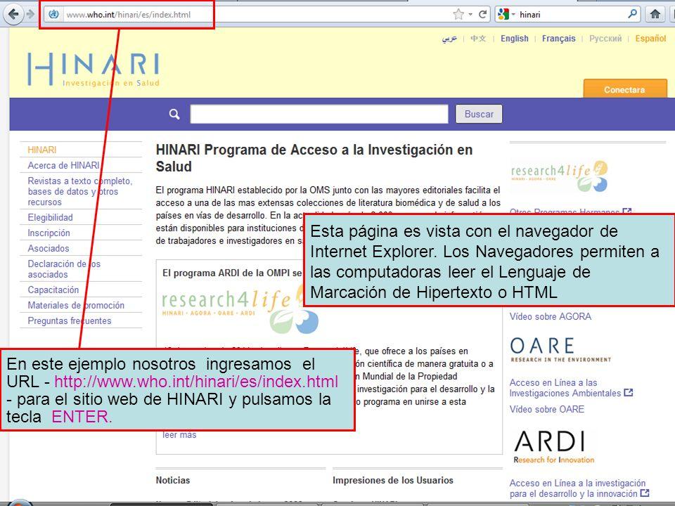 The Internet Address or URL Esta página es vista con el navegador de Internet Explorer. Los Navegadores permiten a las computadoras leer el Lenguaje d
