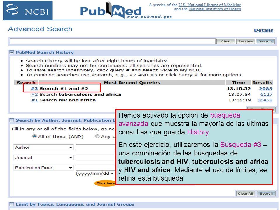 Hemos activado la opción de búsqueda avanzada que muestra la mayoría de las últimas consultas que guarda History.