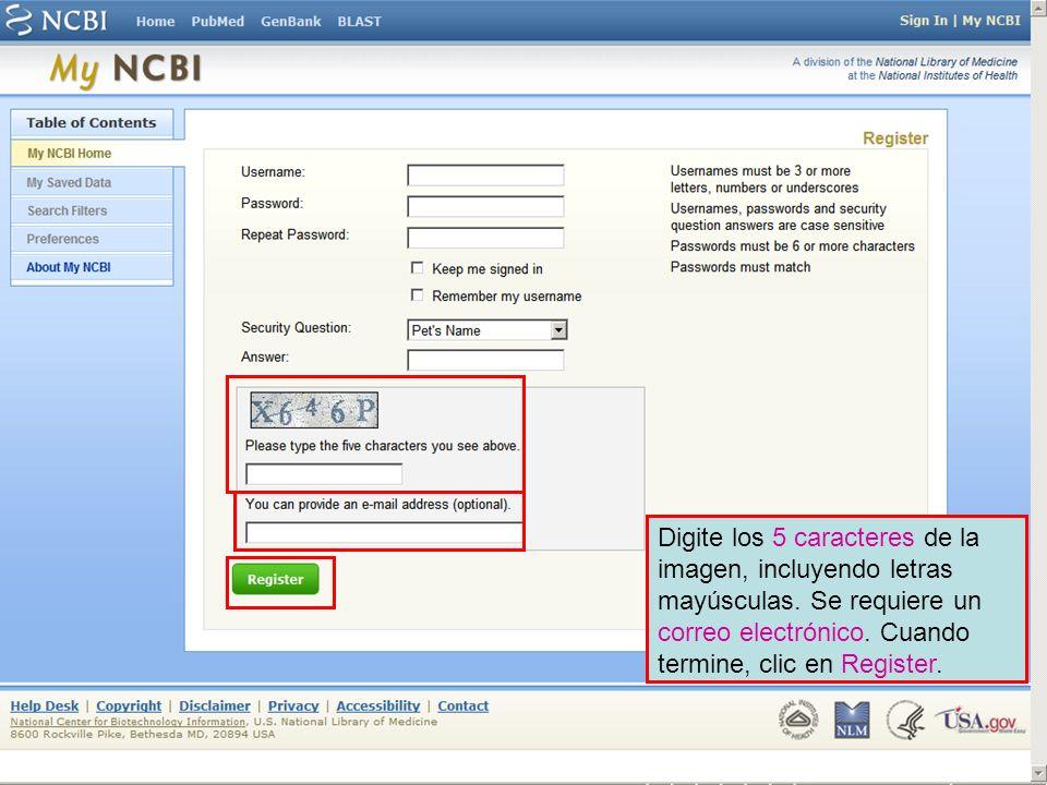 Recibiremos un correo electrónico de confirmación de NCBI.