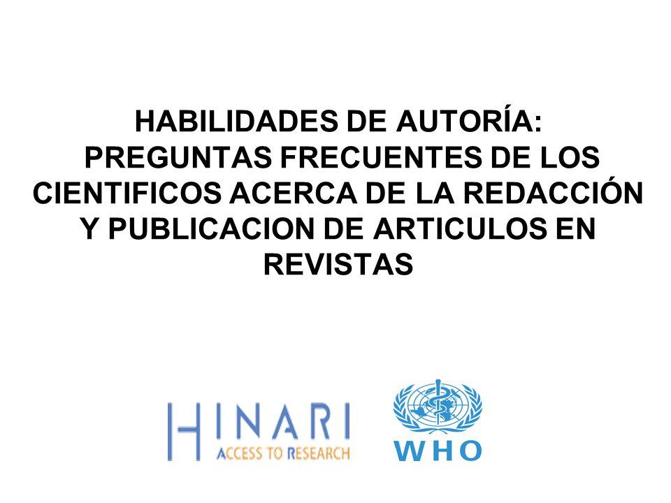 Resumén Este modulo contiene Preguntas Frecuentes de autores e investigadores en países en desarrollo.