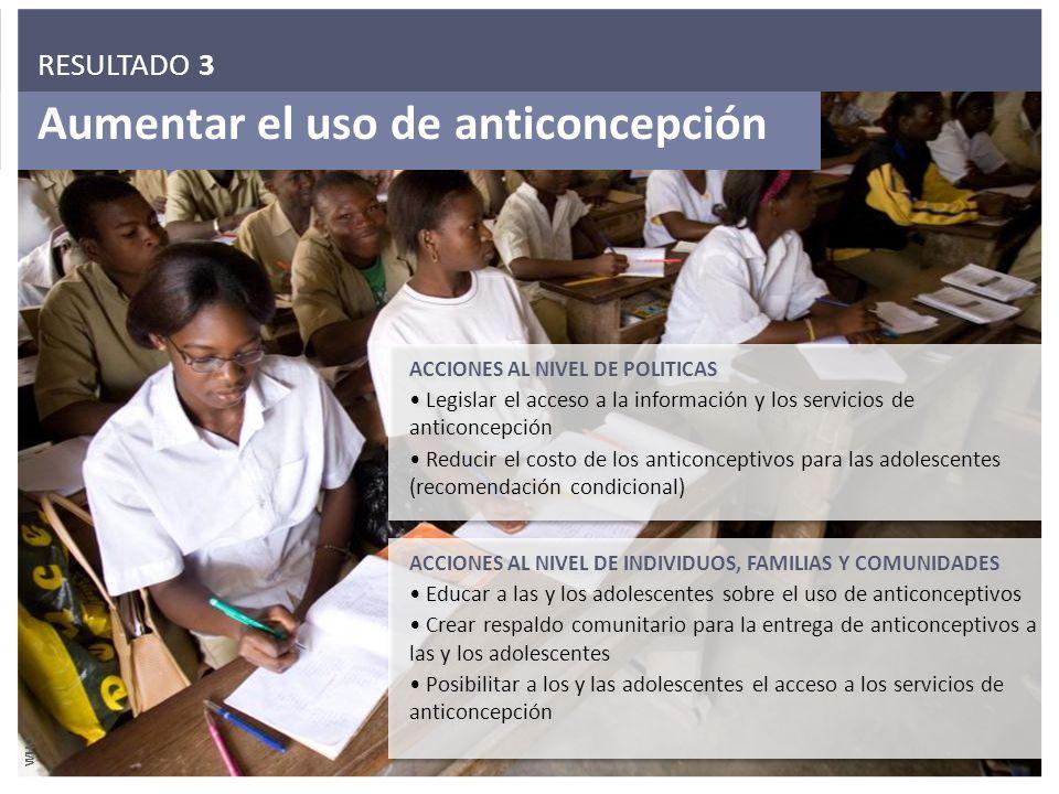 Aumentar el uso de anticoncepción ACCIONES AL NIVEL DE POLITICAS Legislar el acceso a la información y los servicios de anticoncepción Reducir el cost