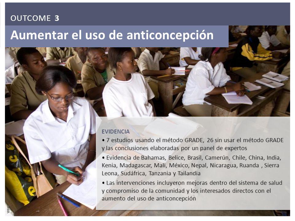 Aumentar el uso de anticoncepción EVIDENCIA 7 estudios usando el método GRADE, 26 sin usar el método GRADE y las conclusiones elaboradas por un panel