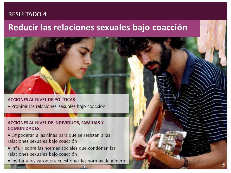 Reducir las relaciones sexuales bajo coacción ACCIONES AL NIVEL DE INDIVIDUOS, FAMILIAS Y COMUNIDADES Empoderar a las niñas para que se resistan a las
