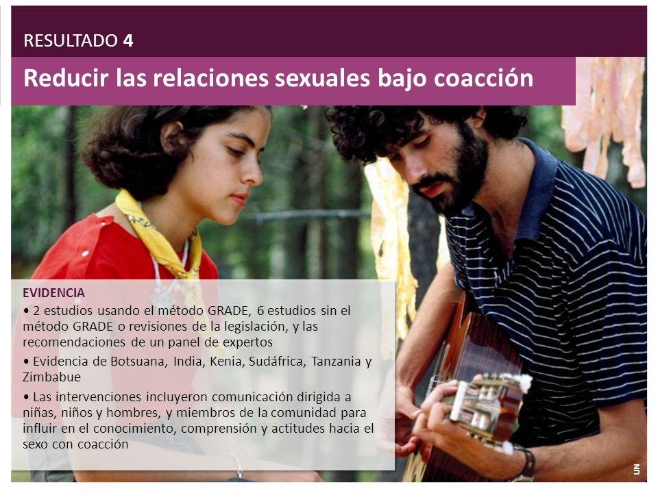 Reducir las relaciones sexuales bajo coacción EVIDENCIA 2 estudios usando el método GRADE, 6 estudios sin el método GRADE o revisiones de la legislaci