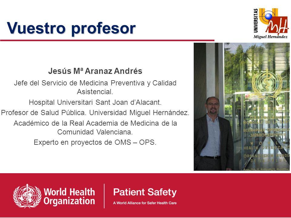 Principios de la investigación sobre la seguridad de los pacientes. Jesús Mª Aranaz Andrés Servicio de Medicina Preventiva y Calidad Asistencial. Hosp
