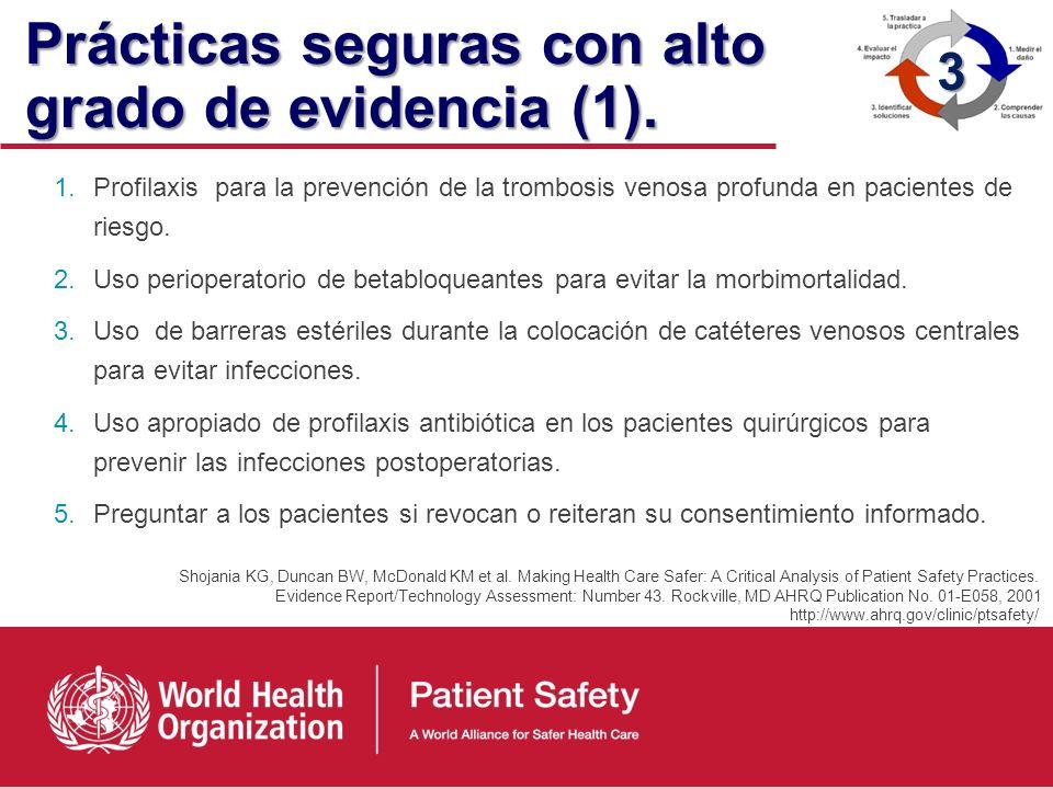 Práctica segura Tipo de proceso o estructura cuya aplicación reduce la probabilidad de EA relacionados con la atención sanitaria (AHRQ, 2001) 3 http:/