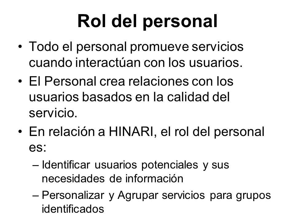 Rol del personal Todo el personal promueve servicios cuando interactúan con los usuarios. El Personal crea relaciones con los usuarios basados en la c