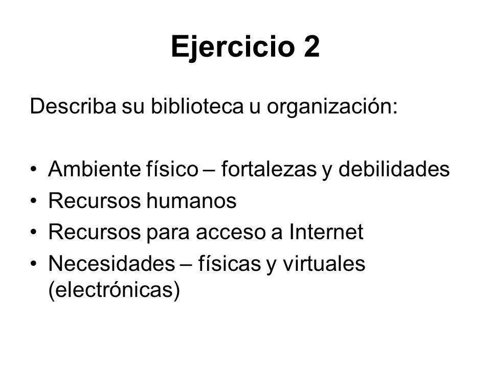 Ejercicio 2 Describa su biblioteca u organización: Ambiente físico – fortalezas y debilidades Recursos humanos Recursos para acceso a Internet Necesid