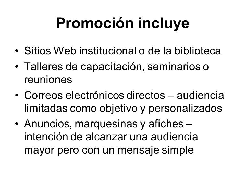 Promoción incluye Sitios Web institucional o de la biblioteca Talleres de capacitación, seminarios o reuniones Correos electrónicos directos – audienc