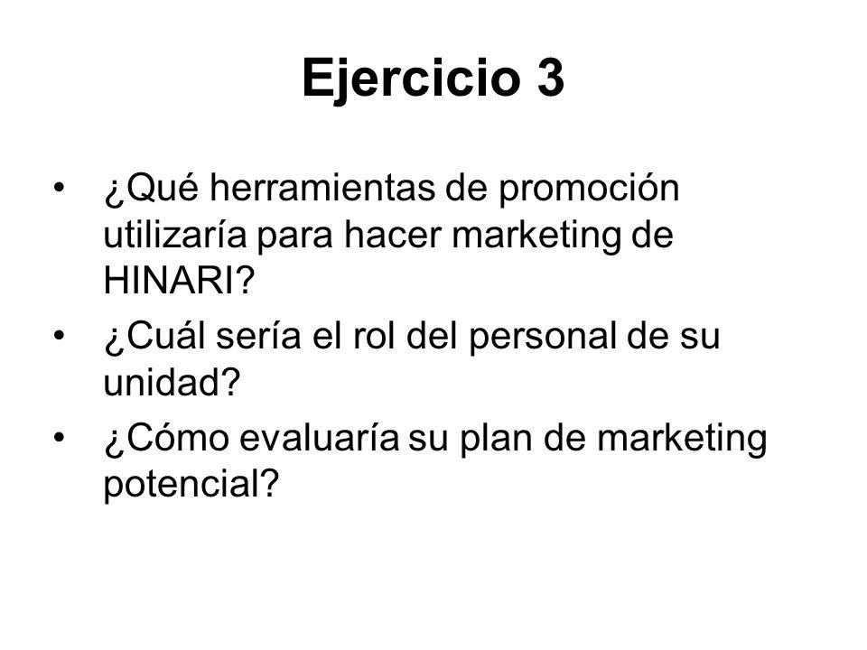 Ejercicio 3 ¿Qué herramientas de promoción utilizaría para hacer marketing de HINARI? ¿Cuál sería el rol del personal de su unidad? ¿Cómo evaluaría su