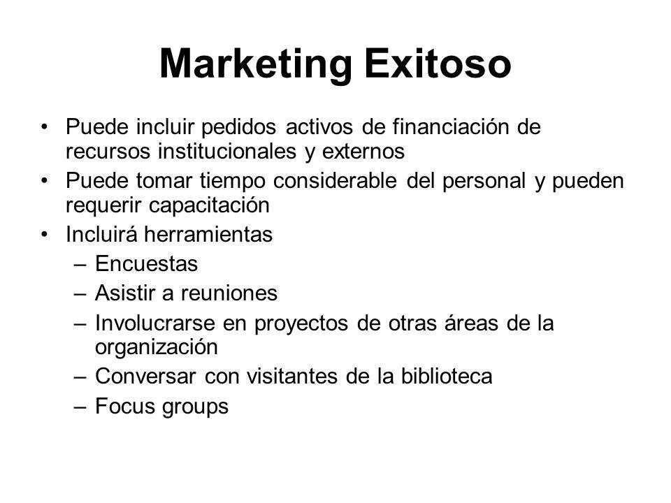 Marketing Exitoso Puede incluir pedidos activos de financiación de recursos institucionales y externos Puede tomar tiempo considerable del personal y