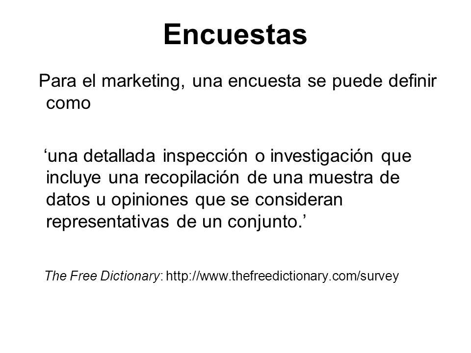 Encuestas Para el marketing, una encuesta se puede definir como una detallada inspección o investigación que incluye una recopilación de una muestra d