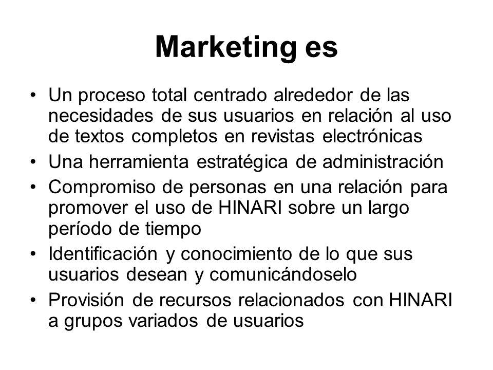Marketing es Un proceso total centrado alrededor de las necesidades de sus usuarios en relación al uso de textos completos en revistas electrónicas Un