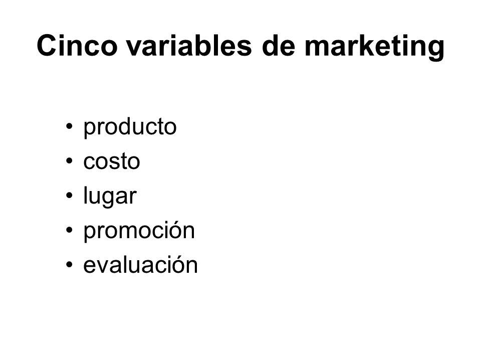 Cinco variables de marketing producto costo lugar promoción evaluación
