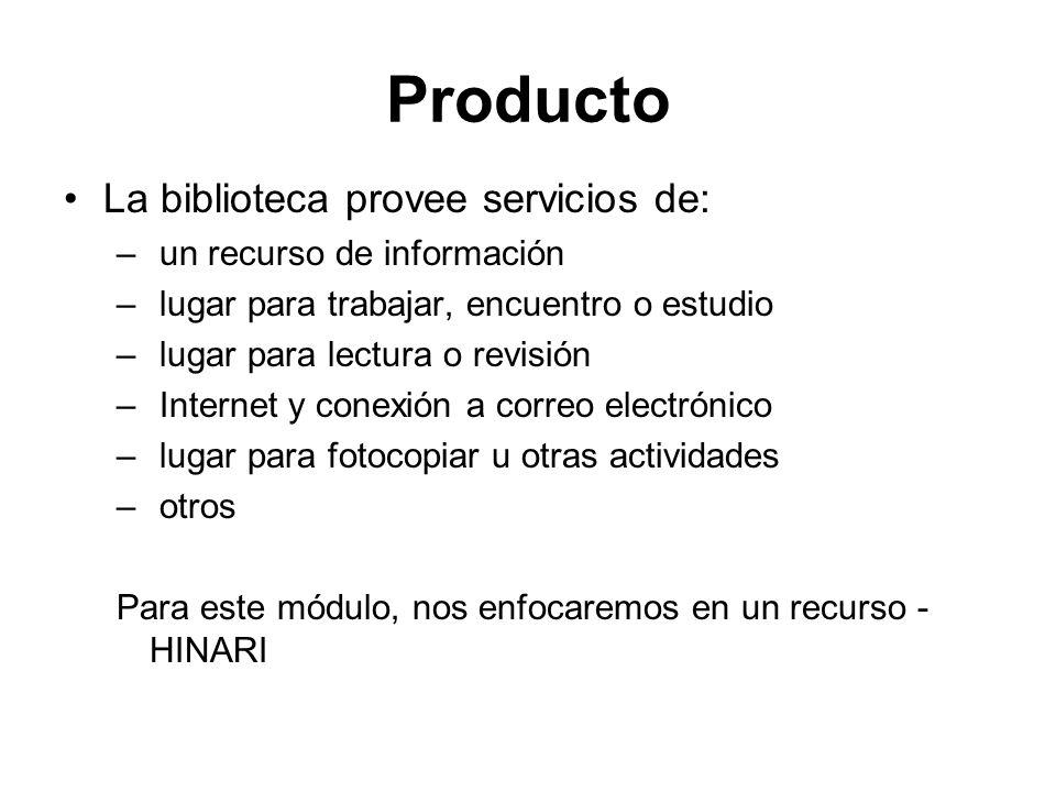 Producto La biblioteca provee servicios de: – un recurso de información – lugar para trabajar, encuentro o estudio – lugar para lectura o revisión – I