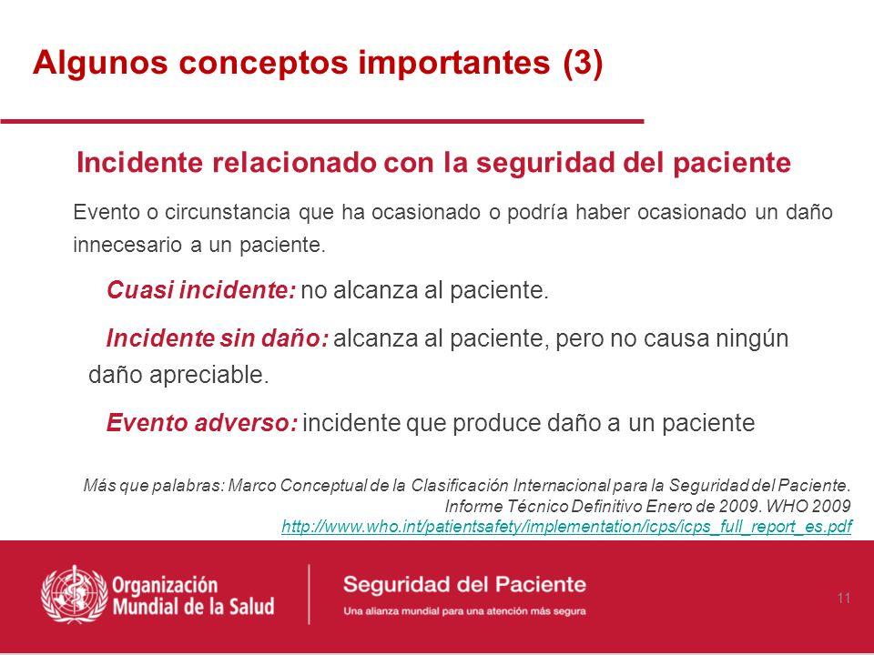 Algunos conceptos importantes (2) Seguridad del paciente: Reducción del riesgo de daño innecesario asociado a la atención sanitaria hasta un mínimo ac