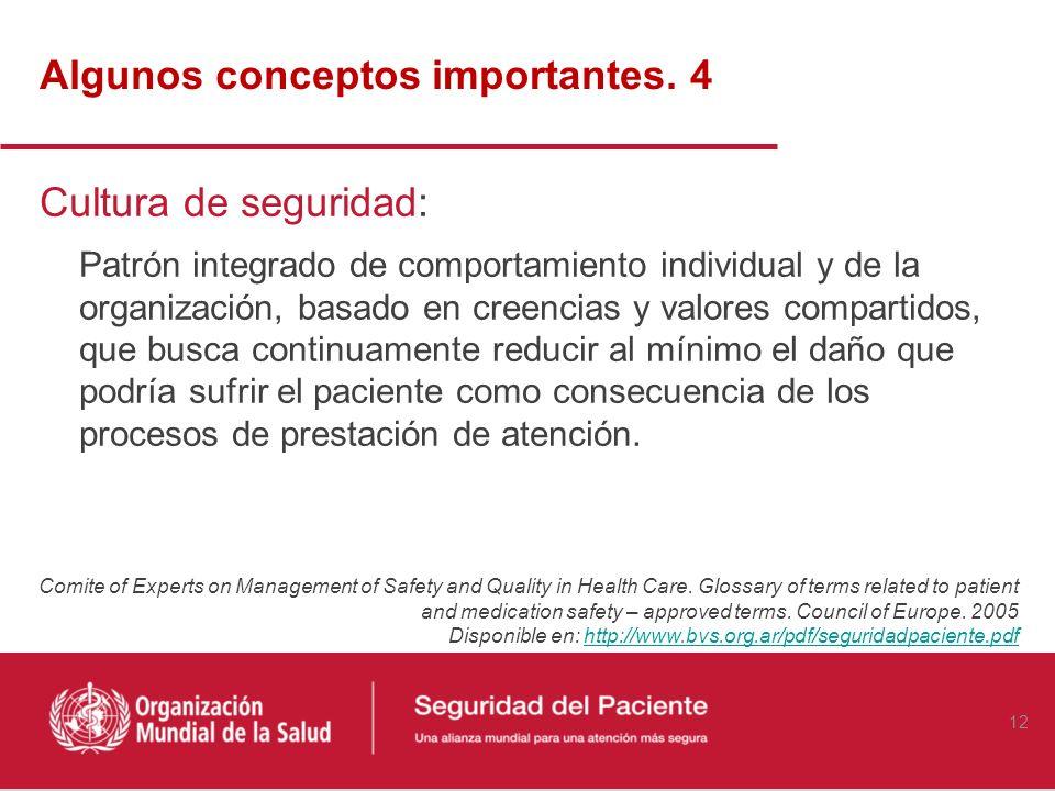Algunos conceptos importantes (3) Incidente relacionado con la seguridad del paciente Evento o circunstancia que ha ocasionado o podría haber ocasiona