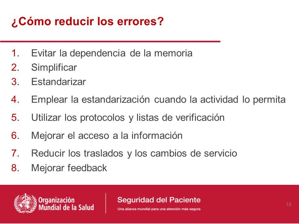 Recurrir a la memoria Excesivo número de traslados de los pacientes Procedimientos no normalizados Turnos de trabajo prolongados Sobrecarga de trabajo