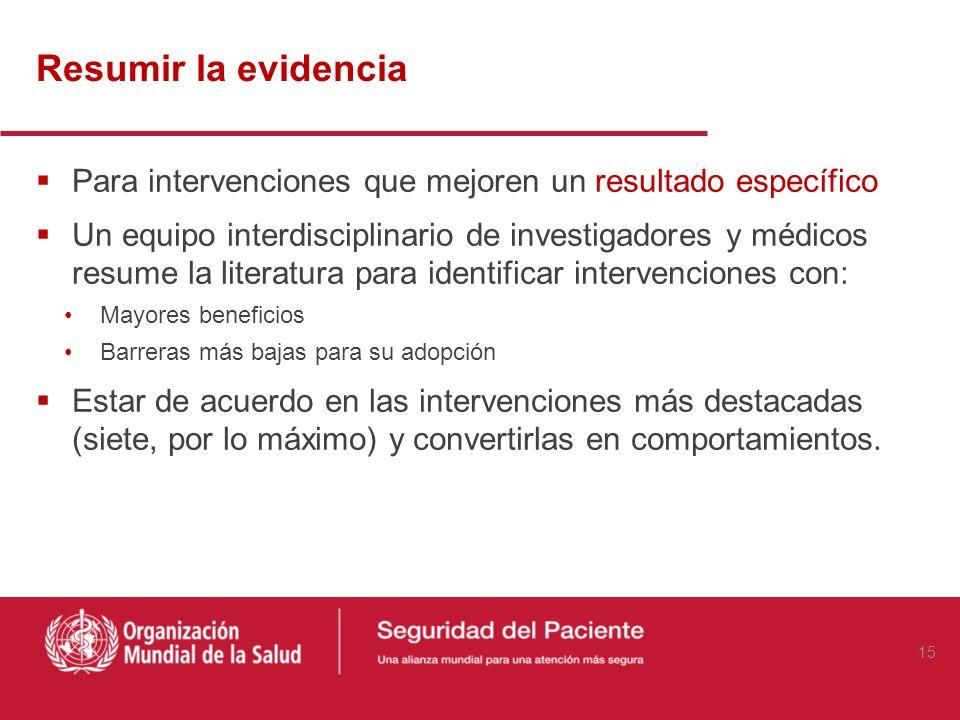 Resumir la evidencia Para intervenciones que mejoren un resultado específico Un equipo interdisciplinario de investigadores y médicos resume la litera