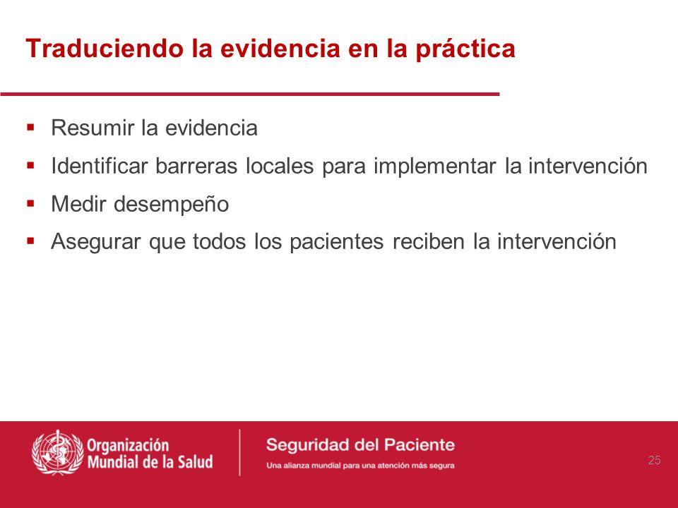 Traduciendo la evidencia en la práctica Resumir la evidencia Identificar barreras locales para implementar la intervención Medir desempeño Asegurar qu